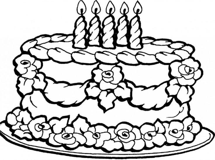 Beautiful Birthday Cake Free Printable Coloring Sheets