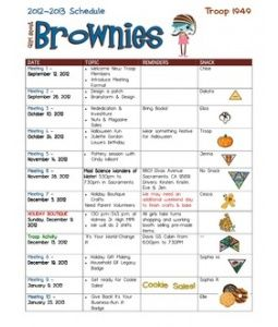 This is amazing!  This is one troop's schedule for the parents.    My only question is it Girl Led?    What are some ways we could make sure that the girls are leading their Girl Scout experience?