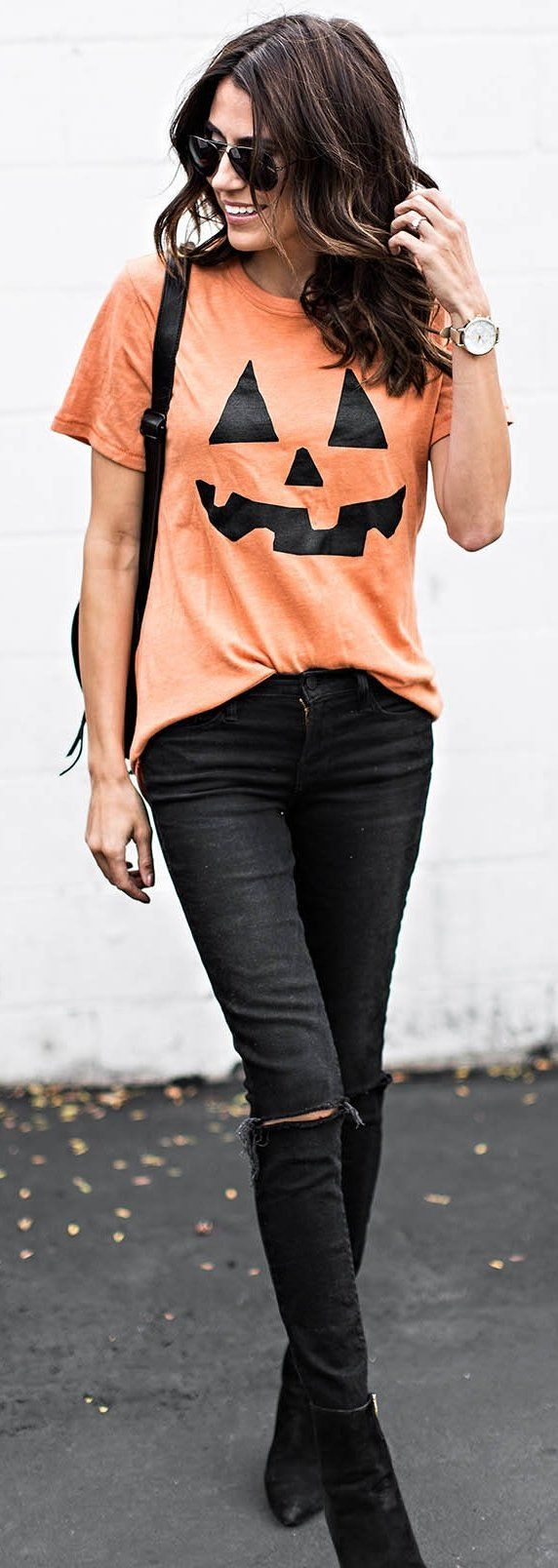 Pumpkin Tee + Black Pants | Halloween Outfit                                                                             Source