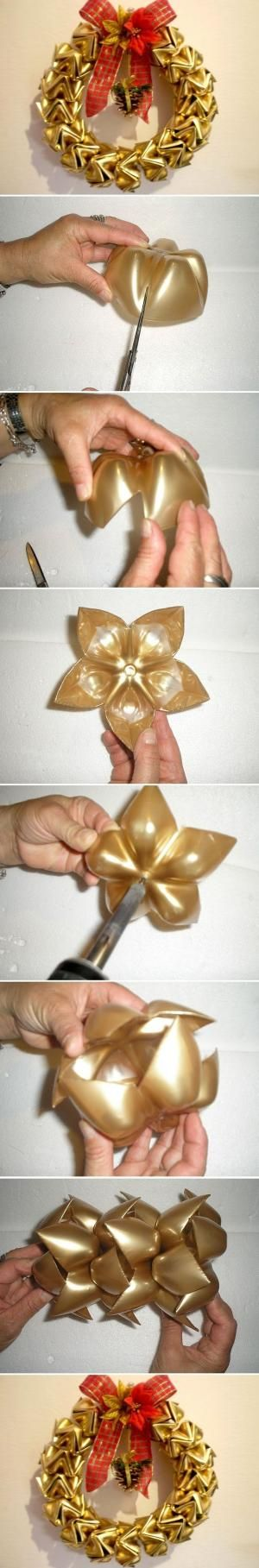 Reciclando también se decora y se celebra! Beautiful Christmas Garland out of PET Bottles by Ana Oliva