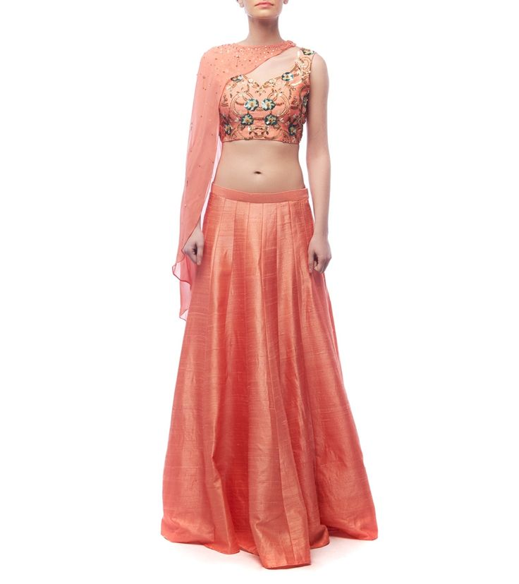 Red Raw Silk Embroidered Lehenga With Blouse And Cape