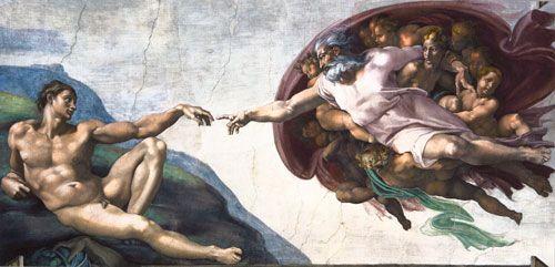 Luomakunnan sunnuntai. Tuntemattoman tekijän kopio Michelangelon Maailman luomisesta, 2015, yksityiskohta. Valokuva Marco Peretto.
