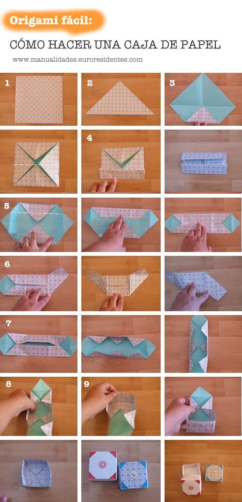 Origami box.Caja papel de origami paso a paso http://manualidades.euroresidentes.com/2013/06/como-hacer-una-caja-de-papel-en-1-minuto.html: How To Make, Papell En, Origami Boxes, Paper Boxes, Cata-Vento Of Papell, Make, Crafts, Caja De Papell, Cajita De Papell