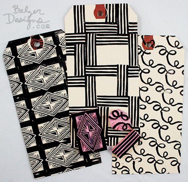 3種類とも消しゴムハンコで作ったパターンです。押す向きや配置をアレンジするだけでこんなユニークな仕上がりに!インクの色を替えられるのも消しゴムハンコの楽しみのひとつです。