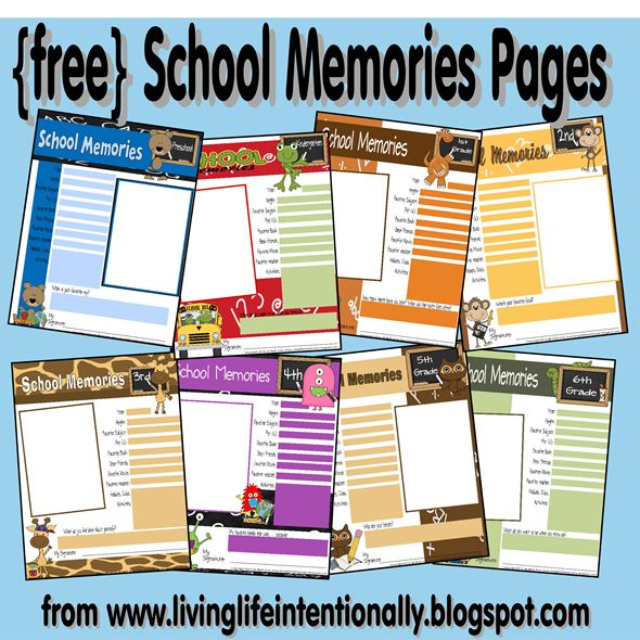 Free School Memories Page -  There is a page for each grade Preschool through 6th grade. Each grade has it's own color scheme & theme, but keeps with the overall look of the pack. These sheets are perfect for public, traditional, or homeschooled kids!