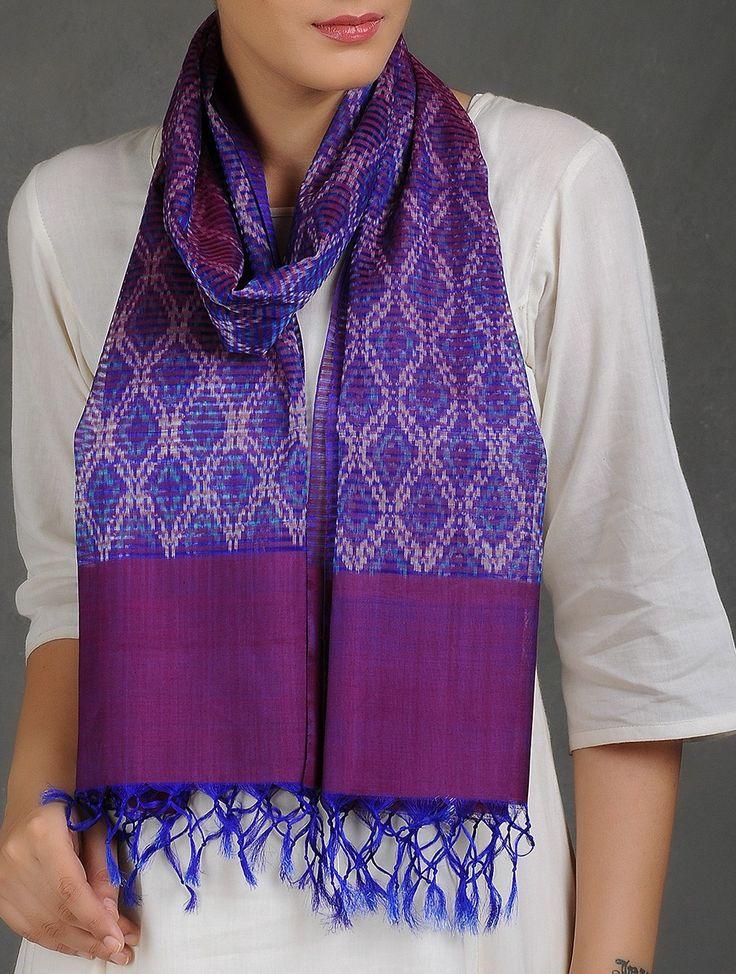 Buy Purple Blue White Missing Stripes Ikat Silk Stole Scarves & Stoles Woven Medley Kalamkari Cotton Sarees Dupattas and Online at Jaypore.com
