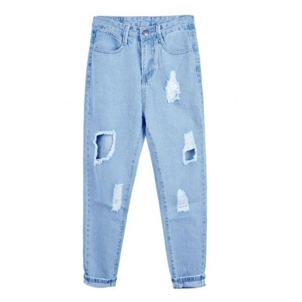 Ripped Denim Blue Pant (£13) ❤ liked on Polyvore featuring jeans, pants, bottoms, denim, distressed denim jeans, destructed jeans, ripped jeans, destroyed denim jeans and ripped denim jeans