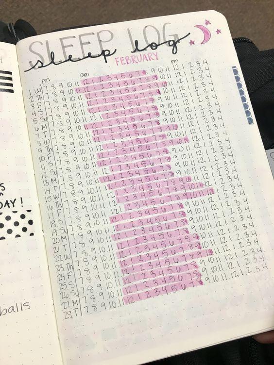 Sleep log bullet journal page