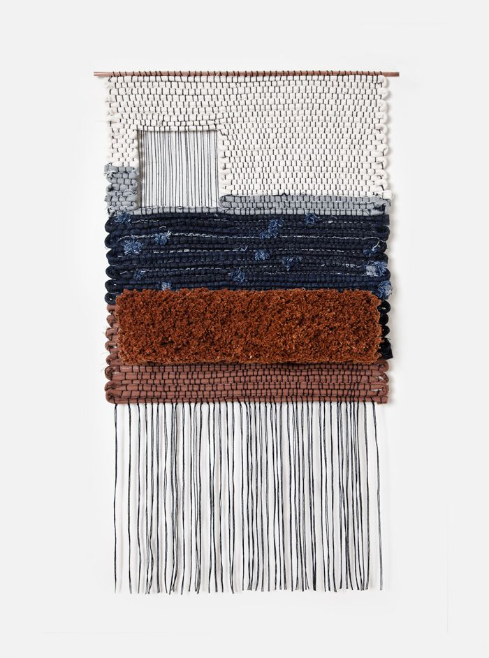 "Hand woven by Mimi Jung of Brook & Lyn. Part of a series of weavings commissioned by Levi's. Woven with denim scraps from the Levi's San Francisco tailor shop. Denim and cotton yarn on copper rods. Levi's Golden 16.5"" x 29.5"", Rod 18"" x 29.50"""
