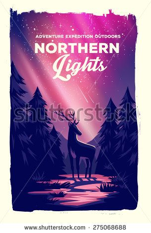 Vector poster landscape northern lights with deer