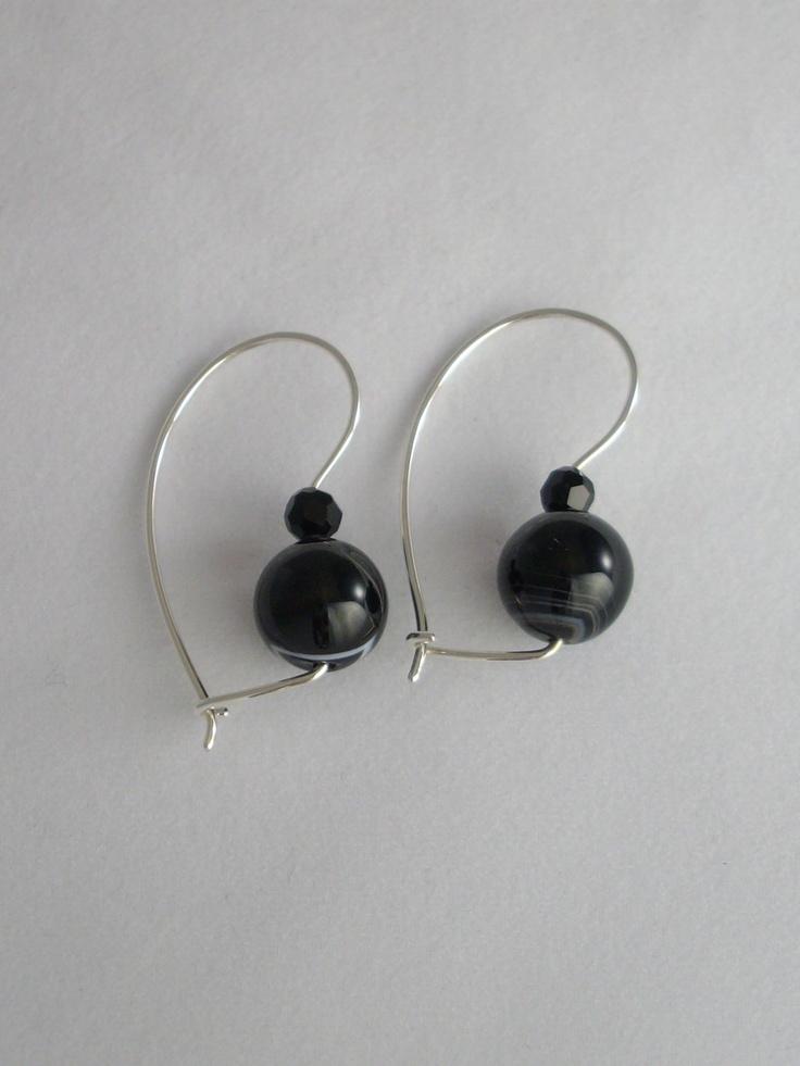 S/S Sardonyx and black bead euroballs www.carellajewellers.com