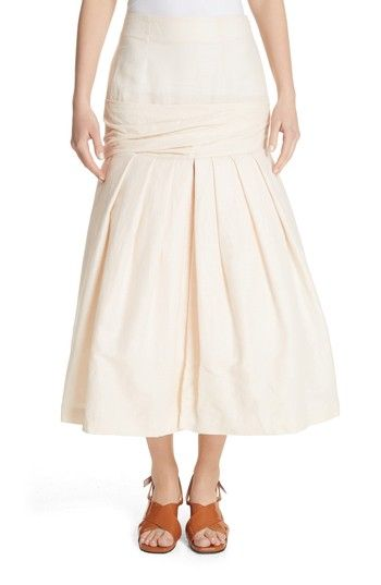 Free shipping and returns on Jacquemus La Jupe Mamao Skirt at Nordstrom.com. Tailored in a breezy linen blend, this creamy skirt features a fitted, wrapped band that flares out below the hips into a full, pleated skirt.