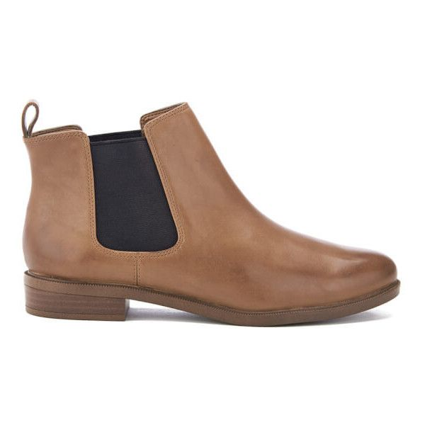 Clarks Women's Taylor Shine Leather Chelsea Boots (4.990 RUB) ❤ liked on Polyvore featuring shoes, boots, ankle booties, tan, leather chelsea boots, short leather boots, tan booties, short boots and flat leather booties