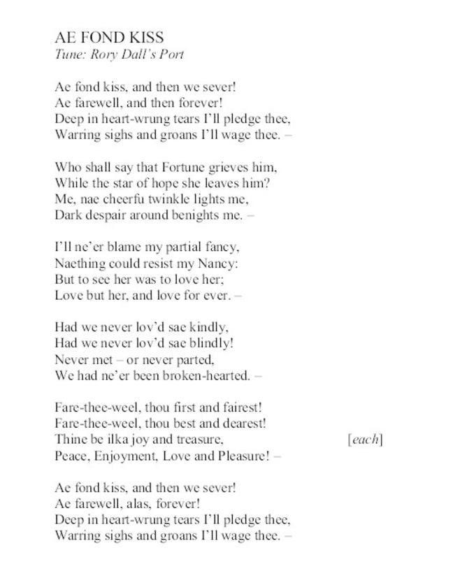 Ae Fond Kiss Robert Burns Burns Great Quotes