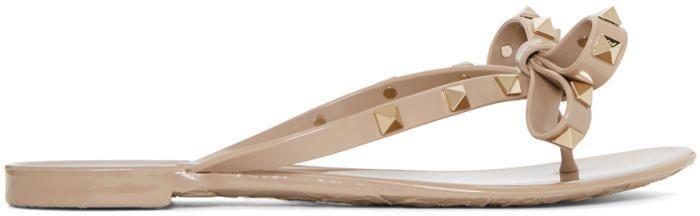 Valentino Pink Garavani Rockstud Jelly Bow Sandals