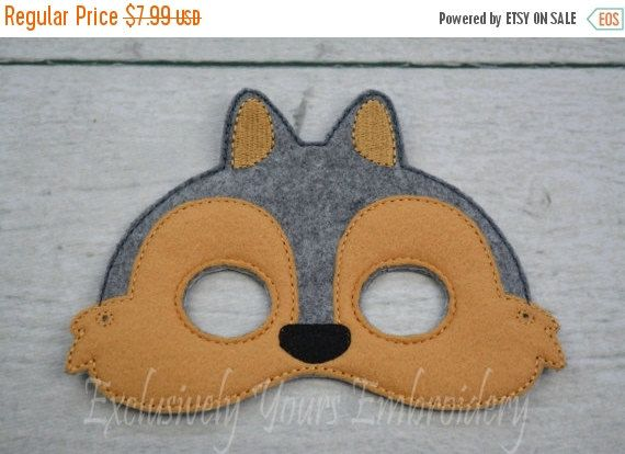 ❘❘❙❙❚❚ ON SALE ❚❚❙❙❘❘ This listing is for one Squirrel mask! Each mask is made with quality Eco felt. The mask has 2 holes for elastic cord