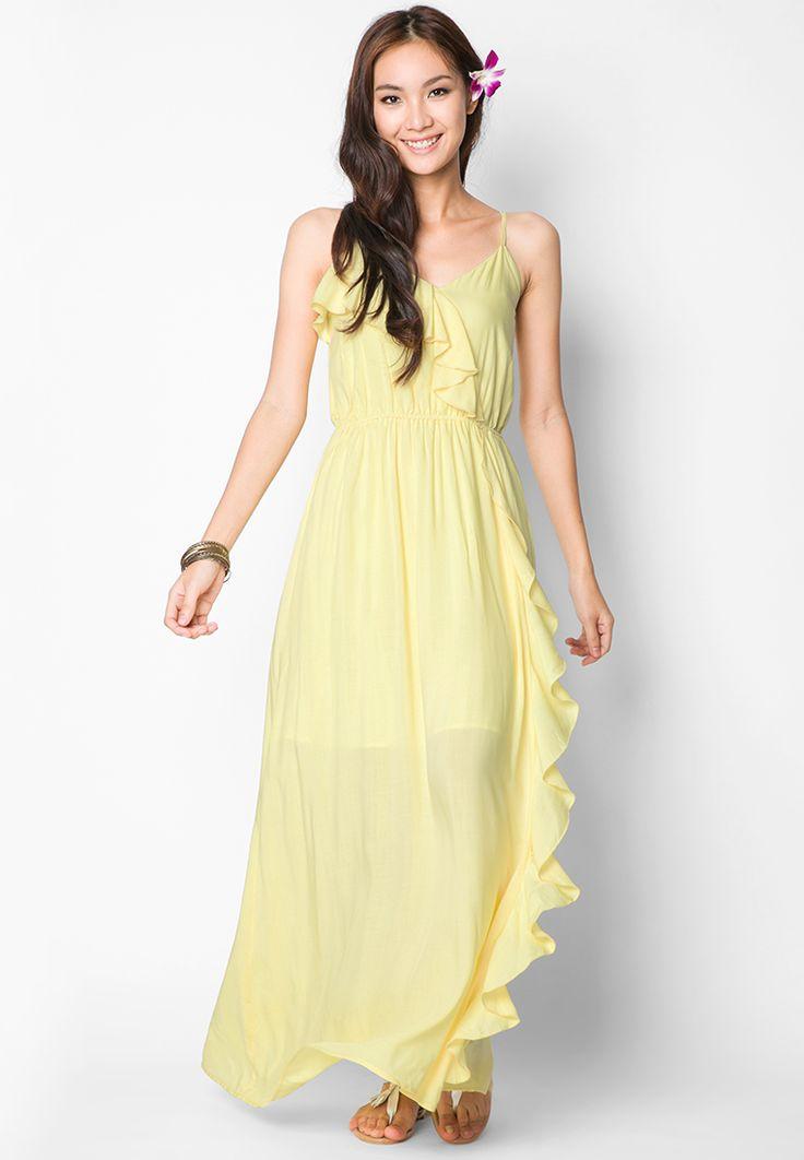 Ruffle Maxi Dress Yellow by EZRA http://www.zocko.com/z/JFz3P