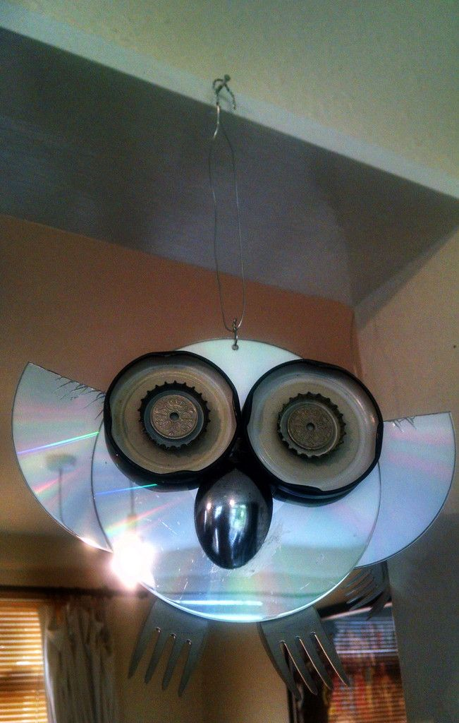 Upcycled CD Owls