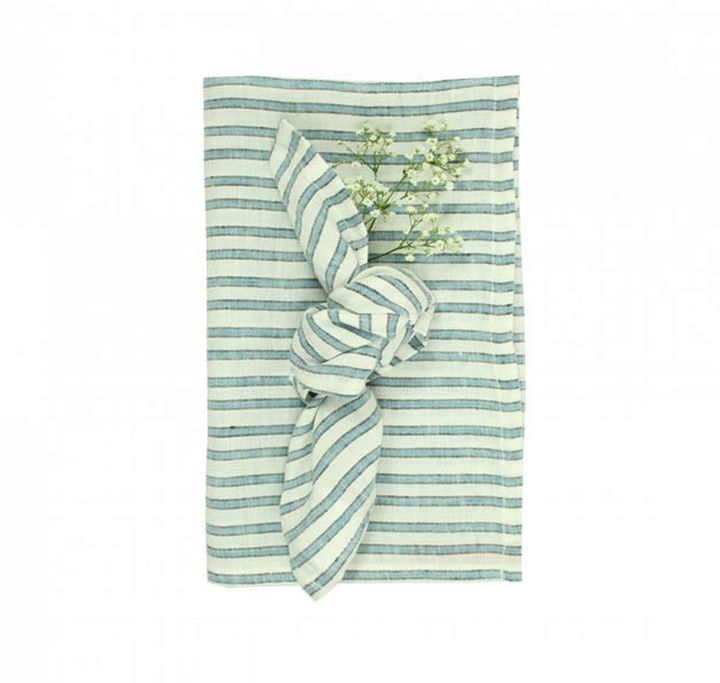 LAB Three Colour Striped Linen Tablecloth and 6 Napkins