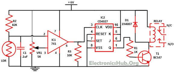Wireless Switch Circuit using CD4027. Source Link: http://www.electronicshub.org/wireless-switch-circuit-using-cd4027/