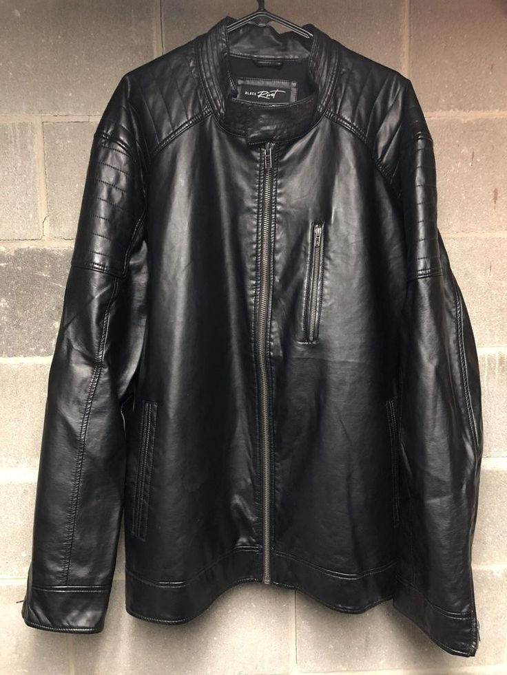 Mens Black Rivet Leather Motorcycle Jacket Black 3XLT
