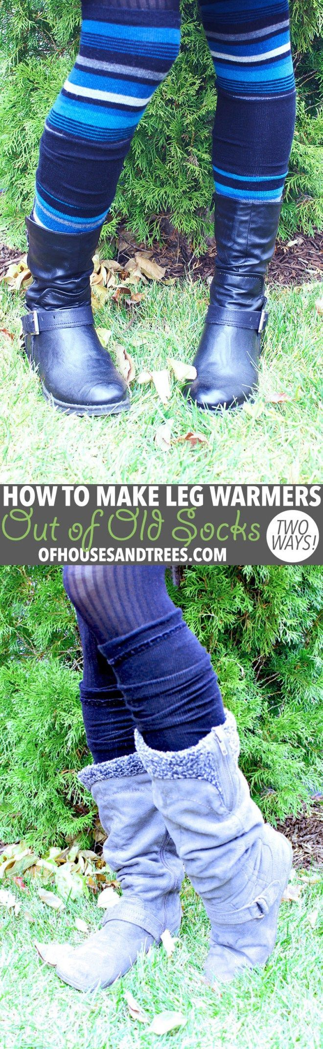 DIY Leg Warmers | Leg warmers aren't just for dancers. They keep the legs toasty and also look kind of cute, no? Here are two ways to make DIY leg warmers out of old socks!