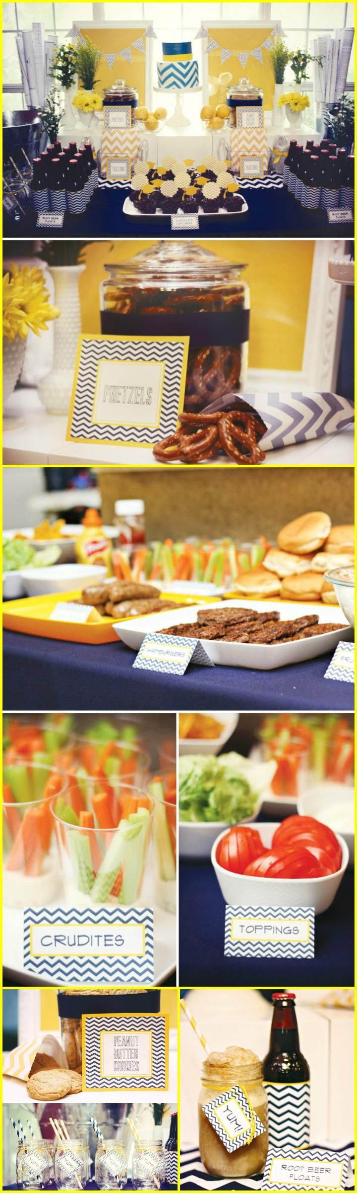 Chic Navy and Yellow Graduation Party Theme - 50+ DIY Graduation Party Ideas & Decorations