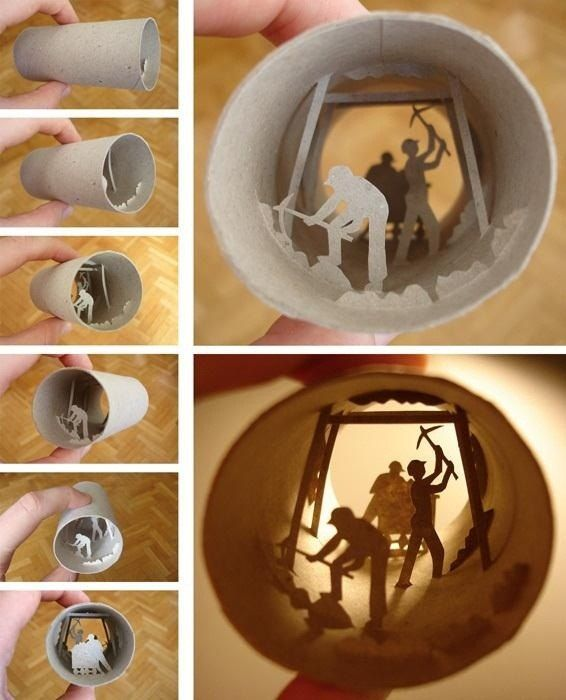 What a cool thing for a kid to do for a school project: Make a diorama out of a paper towel/pt tube!