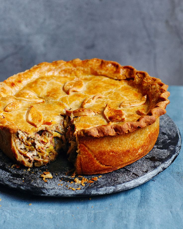 A combination of mushrooms, ham hock, sausages and cider make up the filling for this robust pie. Serve alongside a seasonal slaw for lunch.