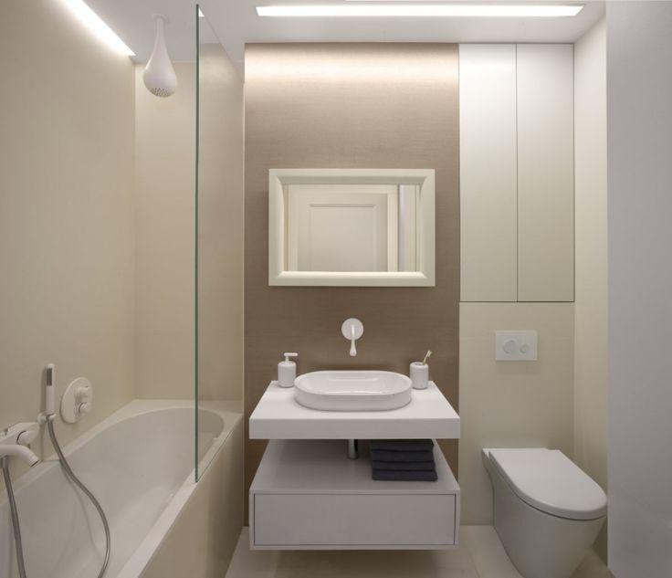 Apartment: Minimalist Krakow Apartment Designed by Morpho Studio, Krakow Apartment Modern Bathroom with Shower and Bathtub Combo and White Vanity Designed by Morpho Studio