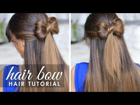 This is so cute, i can't do any funky hairstyles but this looks quite easy- Half-up Hair Bow Cute Hair Tutorial - YouTube