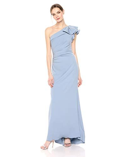 f355a133db0e Carmen Marc Valvo Infusion Women's one Shoulder Crepe Gown, French Blue, 4  stretch crepe one shoulder gown with side slit and ruffle detail at shoulder