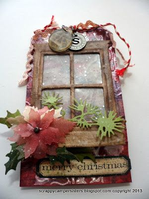 Scrappy Camper Sisters with  Tim Holtz 12 Tags of 2013 - December Tag