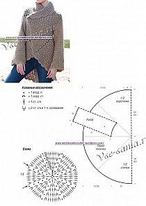 szydełkowy sweter z koła