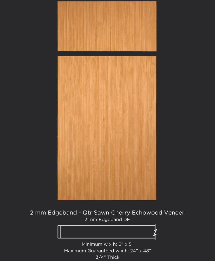 European style slab veneer cabinet door in quarter sawn cherry Echowood veneer by TaylorCraft Cabinet Door Company