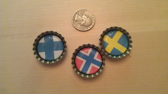 Bottle Cap Magnet - Sweden, Norway, Finland Flags