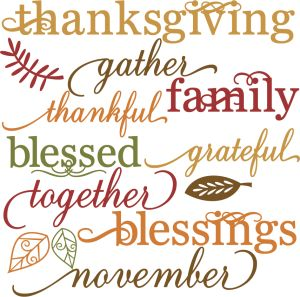 Thanksgiving Words Set SVG cut files for scrapbooking thanksgiving words clipart  free svg cuts
