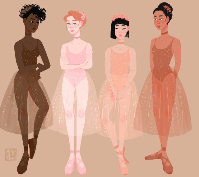 Sc: @ saliechelon255 • Ballerinas illustration •
