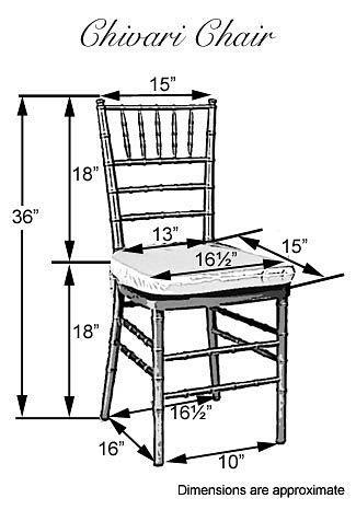 Chiavari chair dimensions ,helpful! Our cushionsare more custom fitted, but love this