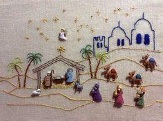 Escena bordada de nacimiento en Belén con botones de figuras