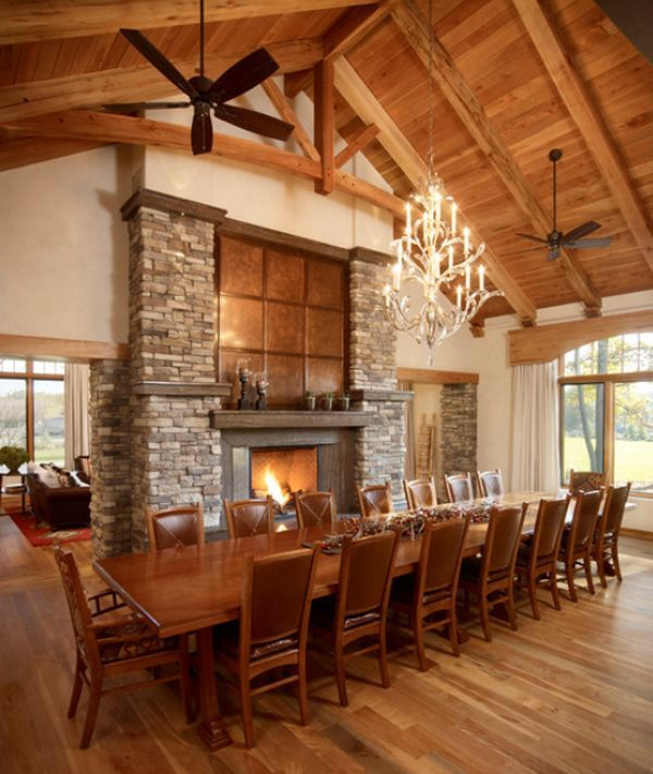 Very Cozy Traditional Dining Room With Wooden Ceiling Table And Matching Chairs