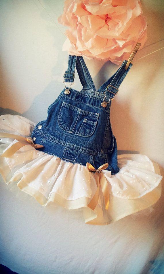 Peaches N Cream  Overall Tutu - Country Wedding - Flower Girl - Newborn - 4T - Tutu Skirt via Etsy