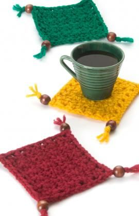 Best Free Crochet » Free Coaster Set Crochet Pattern from RedHeart.com #255 Coasters with Beads and Tassels ༺✿Teresa Restegui http://www.pinterest.com/teretegui/✿༻