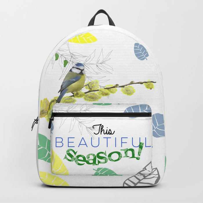 """#backpacks #design #birds #nature #bluetit  #carbonetlumina #mysociety6 #shop #original  Our Backpacks are crafted with spun poly fabric for durability and high print quality. Thoughtful details include double zipper enclosures, padded nylon back and bottom, interior laptop pocket (fits up to 15""""), adjustable shoulder straps and front pocket for accessories. Dry clean or spot clean only. One unisex size: 17.75""""(H) x 12.25""""(W) x 5.75""""(D)."""