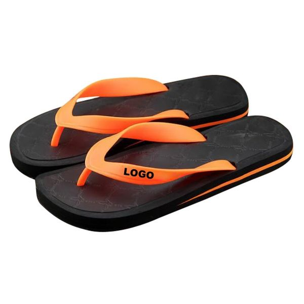 This flip flops is made of ethylene-vinyl acetate copolymer (EVA) and rubber. The size range is from 7.5 to 10. The imprint method is mould. Please send detailed request for quotation.