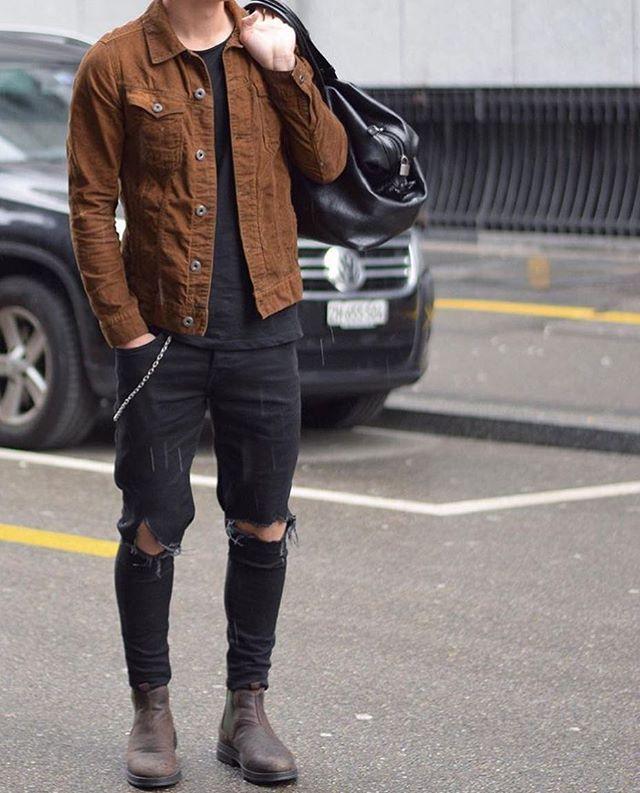 Men's black denim and brown jacket