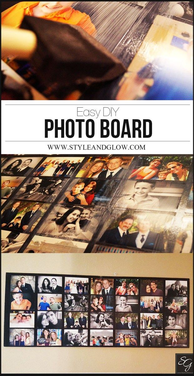How To: DIY Photo Collage Board. Easy tutorial using Modge Podge and foam presentation boards. Creates a sleek, modern way to display all your favorite photos in your home! #homedecor #diyandcraft #photoboard