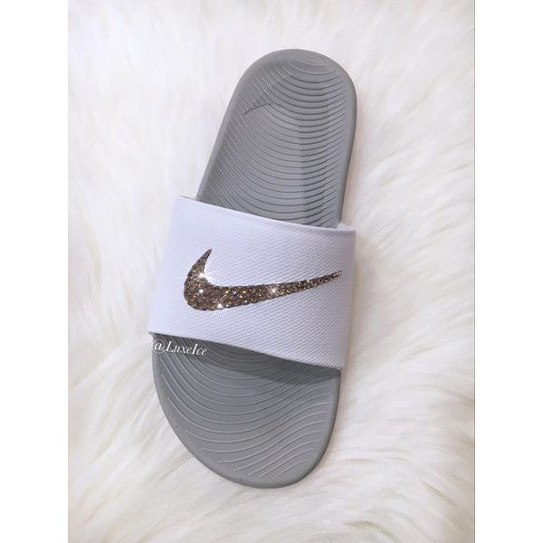 Nike Kawa Slides Flip Flops Customized With Golden Shadow Swarovski... ($65) ❤ liked on Polyvore featuring shoes, sandals, flip flops, gold, women's shoes, sparkly shoes, holiday shoes, special occasion shoes, golden sandals and wrap shoes