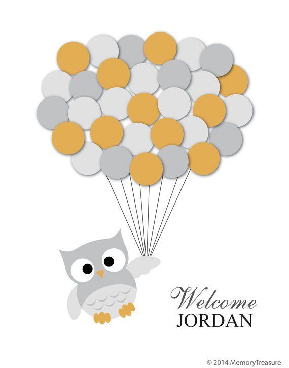 Owl Baby Shower Guest Book Alternative Owl Baby Shower Guestbook Poster #BabyShower