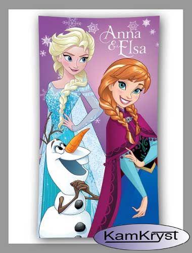 Nowy wzór ręcznika z Krainy Lodu z postaciami Anny, Elsy i Olafa